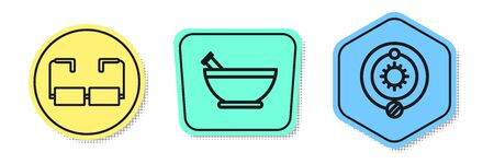 Set line Glasses, Mortar and pestle and Solar system. Colored shapes. Vector