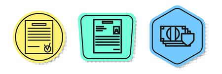Set line Confirmed document and check mark, Personal document and Money with shield. Colored shapes. Vector Illusztráció