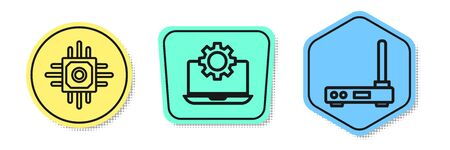 Set line Processor, Laptop and gear and Router and wireless signal. Colored shapes. Vector