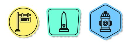 Set line Hanging sign with text Rent, Washington monument and Fire hydrant. Colored shapes. Vector