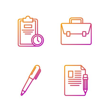 Set line Exam sheet and pencil with eraser, Pen, Exam sheet with clock and Briefcase. Gradient color icons. Vector Stock fotó - 138434755