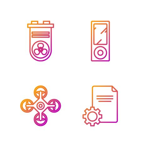 Set line File document, Drone, Video graphic card and Music player. Gradient color icons. Vector