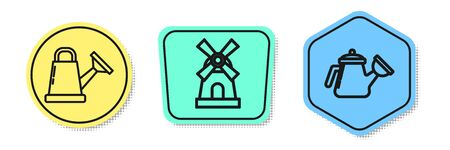 Set line Watering can, Windmill and Watering can. Colored shapes. Vector Vettoriali