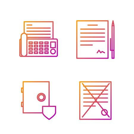 Set line Delete file document, Safe with shield, Fax machine and Contract with pen. Gradient color icons. Vector Stock Illustratie