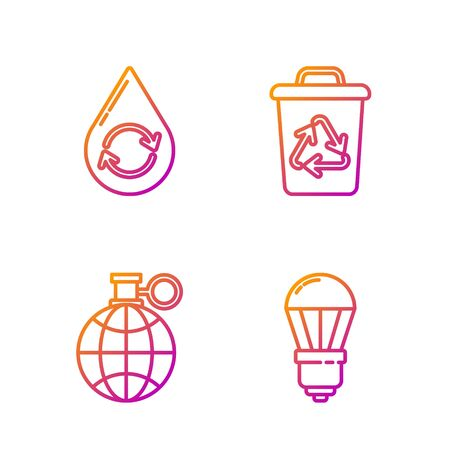 Set line LED light bulb, Planet earth and a recycling, Recycle clean aqua and Recycle bin with recycle symbol. Gradient color icons. Vector Archivio Fotografico - 138434844