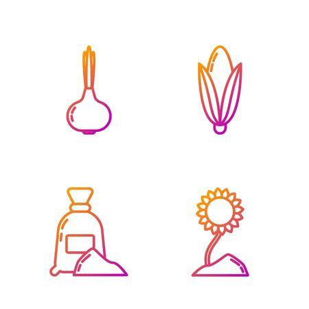 Set line Sunflower, Bag of flour, Onion and Corn. Gradient color icons. Vector