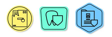 Set line Ordered envelope, Tooth with shield and Document with shield. Colored shapes. Vector