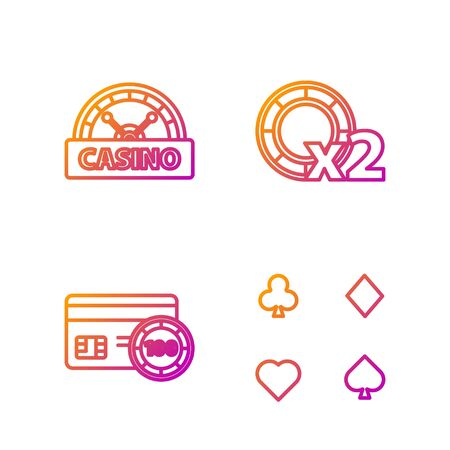 Set line Playing cards, Credit card, Casino signboard and Casino chips. Gradient color icons. Vector