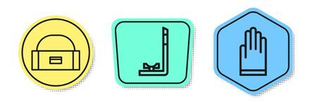Set line Case or box container for wobbler, Snorkel and Gloves. Colored shapes. Vector