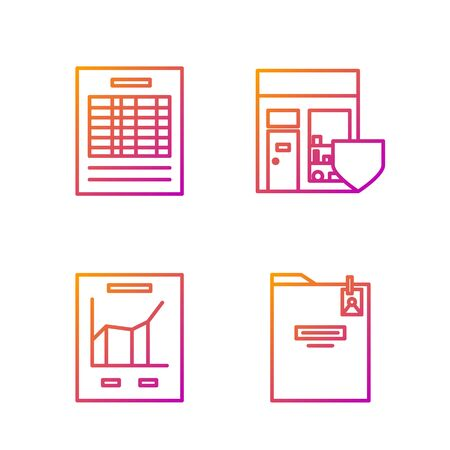 Set line Personal folder, Document with graph chart, Report file document and Shopping building with shield. Gradient color icons. Vector