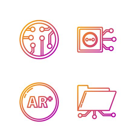 Set line Folder and lock, Ar, augmented reality, Processor and Remote control. Gradient color icons. Vector