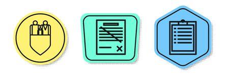 Set line Family insurance with shield, Delete file document and Clipboard with checklist. Colored shapes. Vector