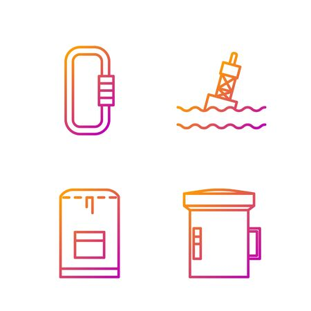Set line Big flashlight for diver, Backpack, Carabiner and Floating buoy on the sea. Gradient color icons. Vector
