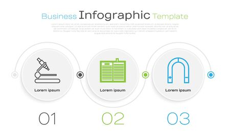 Set line Microscope, Open science book and Magnet. Business infographic template. Vector