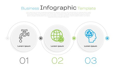 Set line Water tap, Planet earth and a recycling and Human head with recycle. Business infographic template. Vector Archivio Fotografico - 138434895