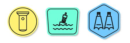 Set line Flashlight, Floating buoy on the sea and Rubber flippers for swimming. Colored shapes. Vector