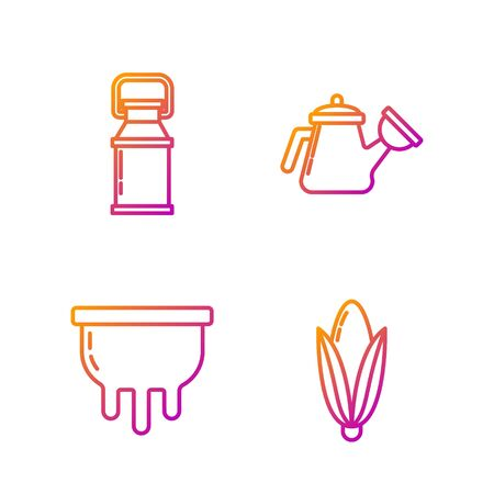 Set line Corn, Udder, Can container for milk and Watering can. Gradient color icons. Vector