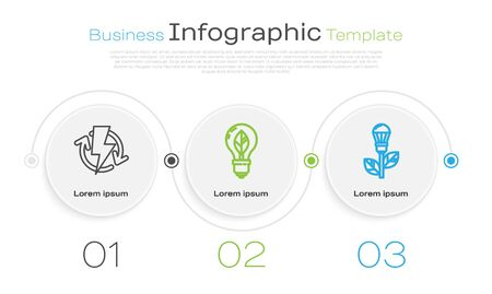Set line Recharging, Light bulb with leaf and Light bulb with leaf. Business infographic template. Vector