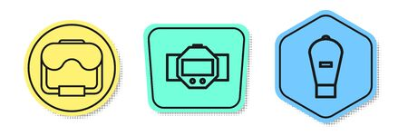 Set line Diving mask, Diving watch and Lift bag. Colored shapes. Vector Banque d'images - 138435614