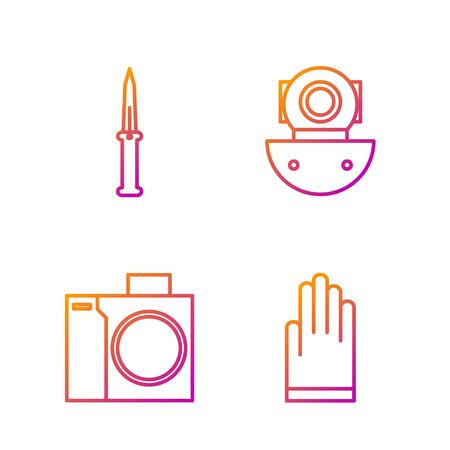 Set line Gloves, Photo camera for diver, Army knife and Aqualung. Gradient color icons. Vector Banque d'images - 138435714