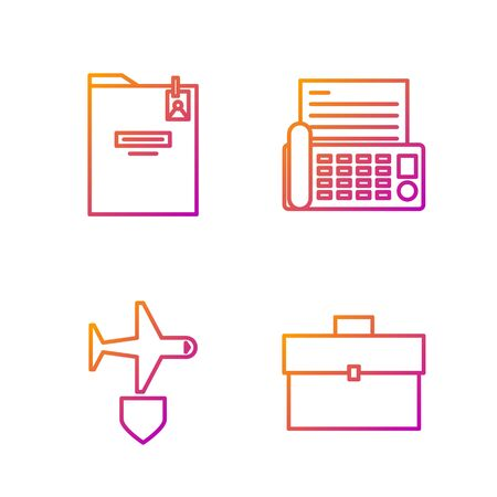 Set line Briefcase, Plane with shield, Personal folder and Fax machine. Gradient color icons. Vector