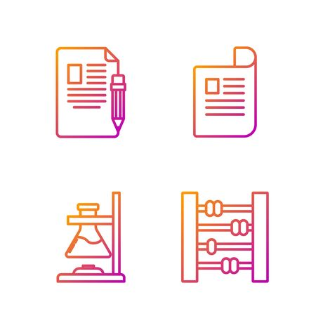 Set line Abacus, Glass test tube flask on fire, Exam sheet and pencil with eraser and Document. Gradient color icons. Vector