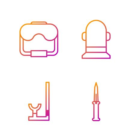 Set line Army knife, Snorkel, Diving mask and Buoy. Gradient color icons. Vector Banque d'images - 138435538