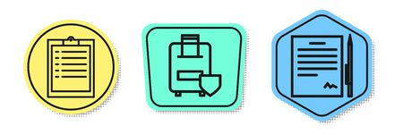 Set line Clipboard with checklist, Traveling baggage insurance and Contract with pen. Colored shapes. Vector