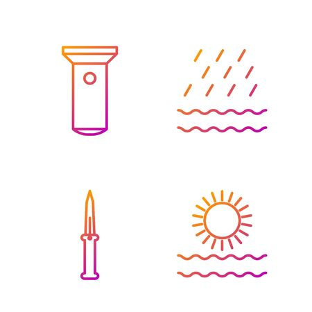 Set line Sun and waves, Army knife, Flashlight and Rain and waves. Gradient color icons. Vector Archivio Fotografico - 138435373