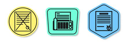 Set line Delete file document, Fax machine and Confirmed document and check mark. Colored shapes. Vector Illusztráció