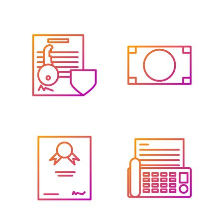 Set line Fax machine, Certificate template, Document with key with shield and Stacks paper money cash. Gradient color icons. Vector