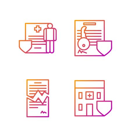 Set line Medical hospital building with shield, Torn contract, Medical clipboard with clinical record and Document with key with shield. Gradient color icons. Vector