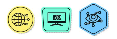 Set line Global technology or social network, Monitor display with 5k video and Virtual reality. Colored shapes. Vector