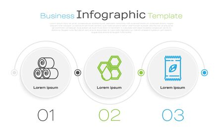 Set line Roll of hay, Honeycomb and A pack full of seeds of a specific plant. Business infographic template. Vector