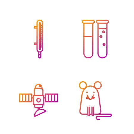 Set line Rat, Satellite, Meteorology thermometer measuring and Test tube and flask chemical laboratory. Gradient color icons. Vector  イラスト・ベクター素材