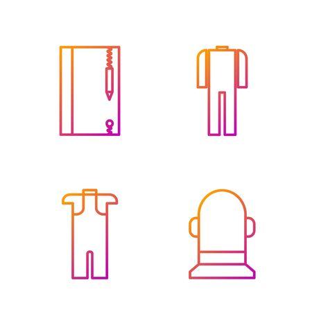 Set line Buoy, Wetsuit for scuba diving, Underwater note book and pencil and Wetsuit for scuba diving. Gradient color icons. Vector