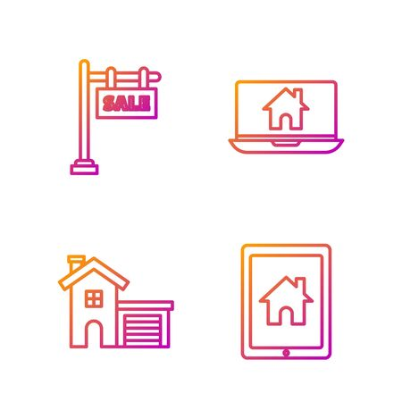 Set line Tablet and smart home, House, Hanging sign with text Sale and Laptop and smart home. Gradient color icons. Vector