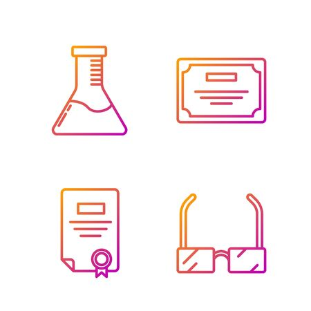Set line Glasses, Certificate template, Test tube and flask chemical laboratory and Certificate template. Gradient color icons. Vector