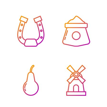 Set line Windmill, Pear, Horseshoe and Bag of flour. Gradient color icons. Vector