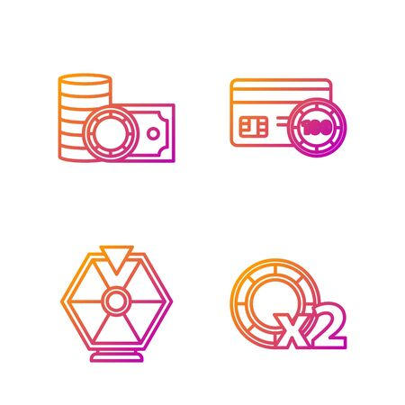 Set line Casino chips, Lucky wheel, Casino chips and stacks money cash and Credit card. Gradient color icons. Vector