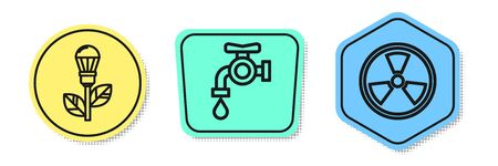 Set line Light bulb with leaf, Water tap and Radioactive. Colored shapes. Vector Archivio Fotografico - 138434911