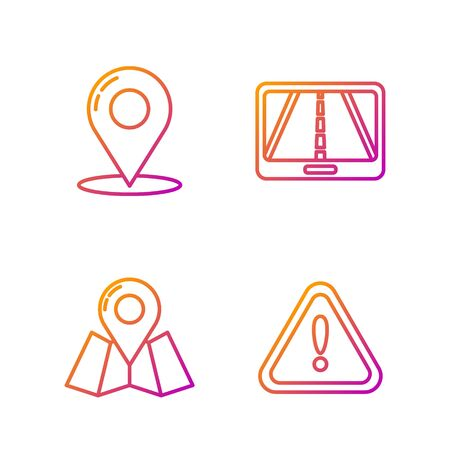 Set line Exclamation mark in triangle, Folded map with location marker, Map pin and Infographic of city map navigation. Gradient color icons. Vector