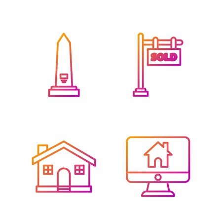 Set line Computer monitor with smart home, House, Washington monument and Hanging sign with text Sold. Gradient color icons. Vector