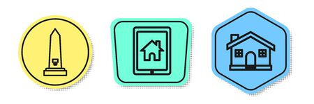 Set line Washington monument, Tablet and smart home and House. Colored shapes. Vector Çizim