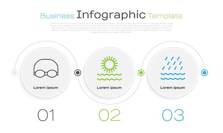 Set line Glasses and cap for swimming, Sun and waves and Rain and waves. Business infographic template. Vector