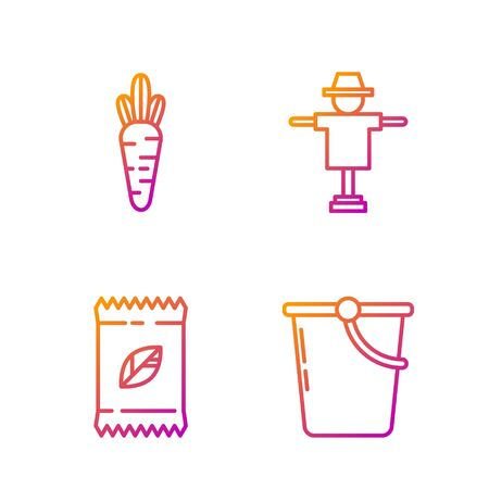 Set line Bucket, A pack full of seeds of a specific plant, Carrot and Scarecrow. Gradient color icons. Vector Zdjęcie Seryjne - 138435576