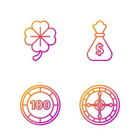 Set line Casino roulette wheel, Casino chips, Four leaf clover and Money bag. Gradient color icons. Vector