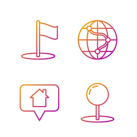 Set line Push pin, Map pointer with house, Flag and Location on the globe. Gradient color icons. Vector