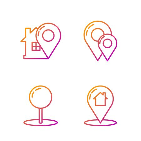 Set line Map pointer with house, Push pin, Map pointer with house and Map pin. Gradient color icons. Vector