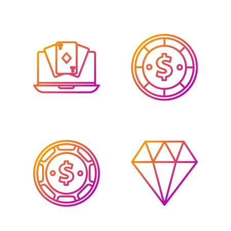 Set line Diamond, Casino chip with dollar, Online poker table game and Casino chip with dollar. Gradient color icons. Vector